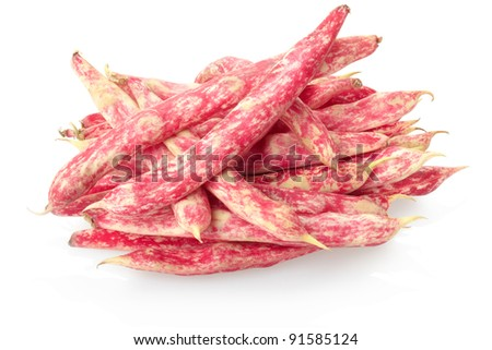 Red bean pod heap isolated on white, clipping path included - stock photo