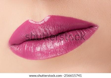 Red beautiful lips - stock photo