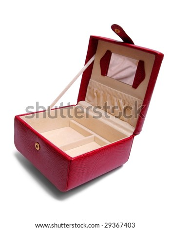 Red beauty box isolated on white. - stock photo