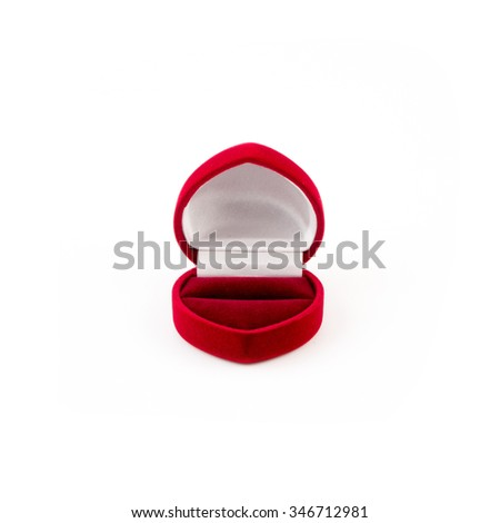 Red beautyful jewelry box isolated on white.