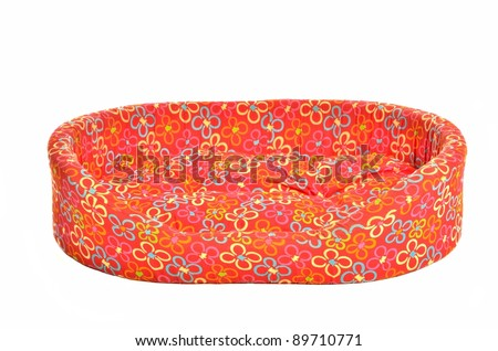 Red bed cot for pets isolated - stock photo