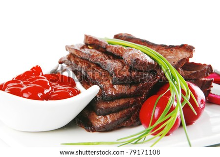 red beef meat with spices on white - stock photo