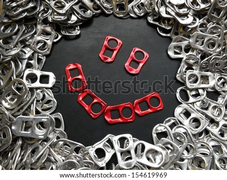 Red Beer tabs Smiley - stock photo