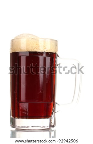 red beer with the foam in mug isolated on white