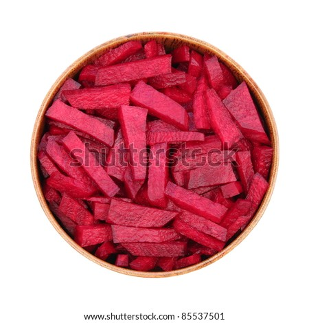 red beets in a wooden bowl, in isolation, white background - stock photo