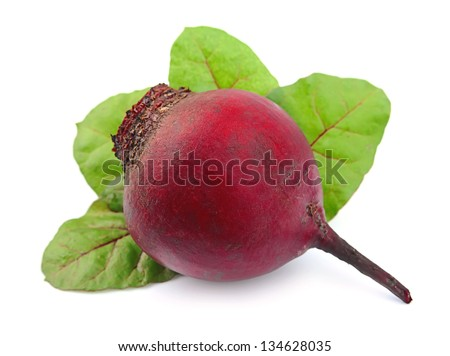 red beets with leafs on white background - stock photo