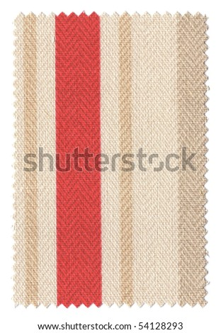 Red/beige striped fabrci swatch with trimmed zigzag edges