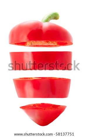 Red bell pepper cut in slices cut on a white background