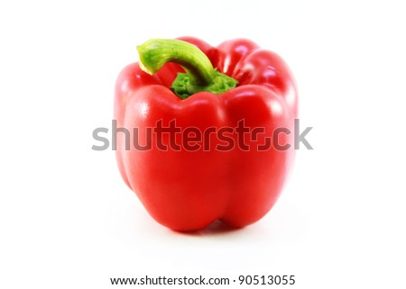 Red Bell Pepper isolated on white background - stock photo