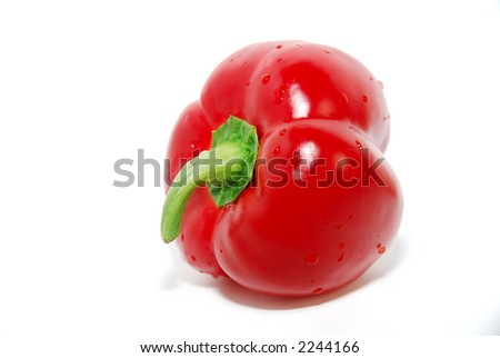 Red bell pepper, isolated on white background, with water droplets. Side view. - stock photo