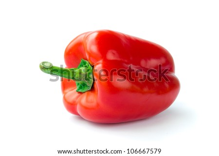 red bell pepper or capsicum isolated on white background - stock photo