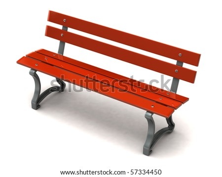 Red bench - stock photo