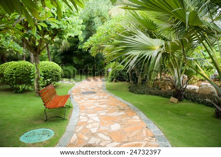 red bench and path in tropical park - stock photo