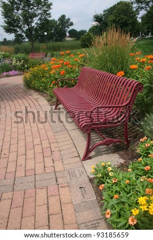 Red Bench on Brick Path in Minneapolis