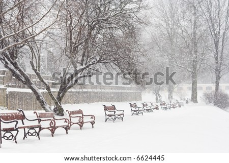 Red benches in row covered with snow. Snowing. - stock photo