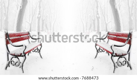 Red benches in the fog in winter - stock photo