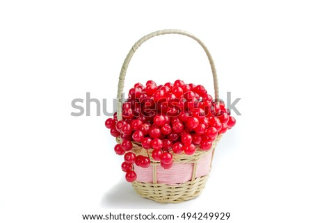 Red berries of guelder rose in small wicker basket isolated on white background