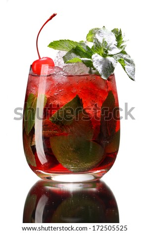 Red berry mojito in a glass with ice / studio photography of beverages isolated on white background with reflection  - stock photo
