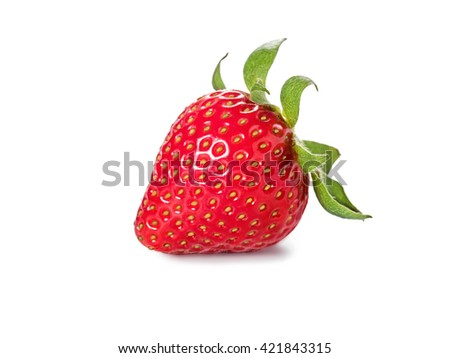 Red berry Strawberry with leaves isolated on a white background. - stock photo