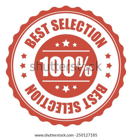 red 100% best selection icon, tag, label, badge, sign, sticker isolated on white  - stock photo