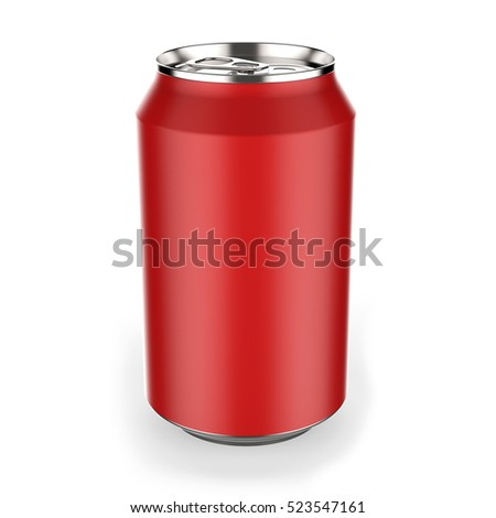 Red  beverage can on white background 3D rendering