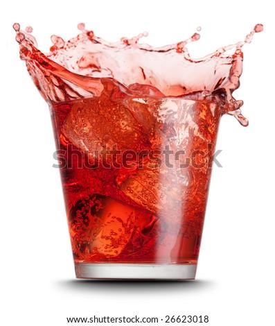 red beverage splashed on isolated on white background - stock photo