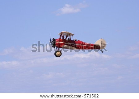 Red Bi-plane - stock photo