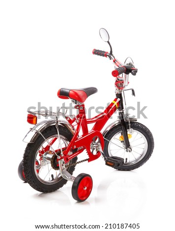 red bicycle for children isolated on white background  - stock photo