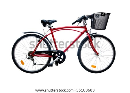 Red bicycle isolated on pure white background - stock photo