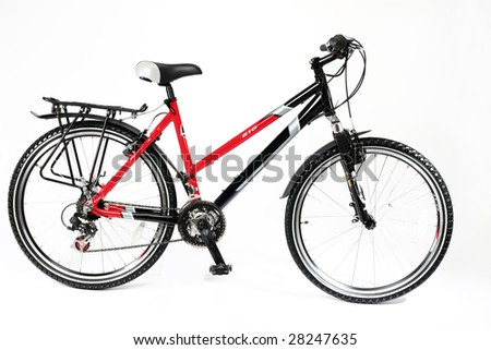 Red bicycle on a white background
