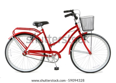 Red Bicycle over white background - stock photo