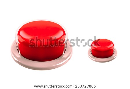 red big and small buttons isolated - stock photo
