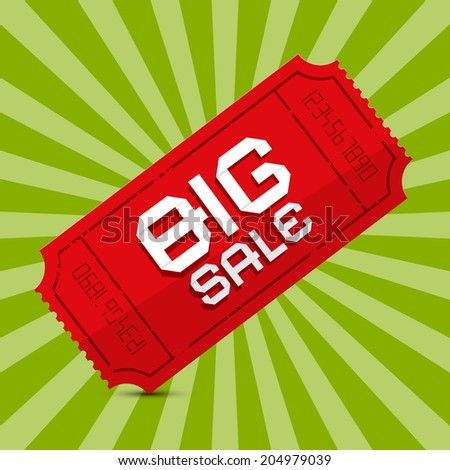 Red Big Sale Paper Ticket on Green Background - stock photo