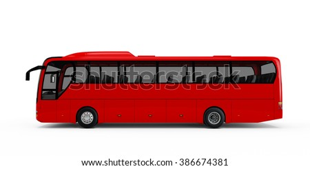 Red big tour bus isolated on white background - stock photo