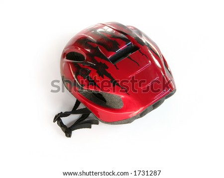 Red bike helmet (w clipping path)