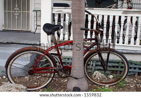 Red Bike in Key West Florida - stock photo