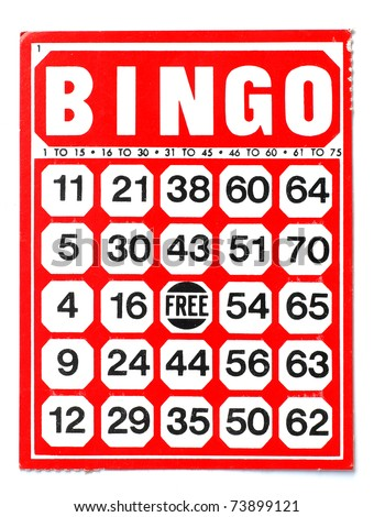 Red bingo card on white background - stock photo