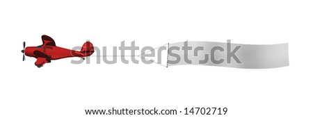 Red biplane pulling white blank advertising banner isolated on white - stock photo