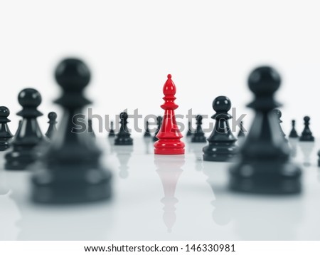 red bishop and black pawns over the white background