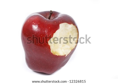 Red bitten apple isolated on white background - stock photo