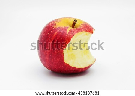 Red bitten apple with shadow. - stock photo