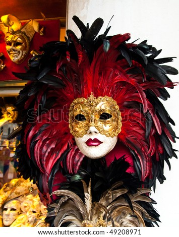 Red, black and golden Venetian mask - stock photo