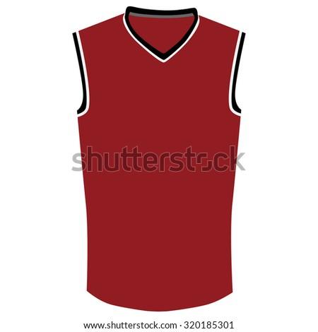 Red, black and white basketball jersey raster isolated, basketball t- shirt, basketball uniform - stock photo