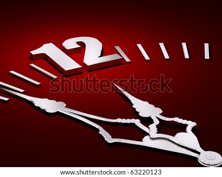 Red black clock face with silver hands 3d render - stock photo