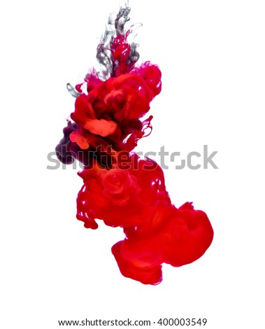 red black paint in water - stock photo
