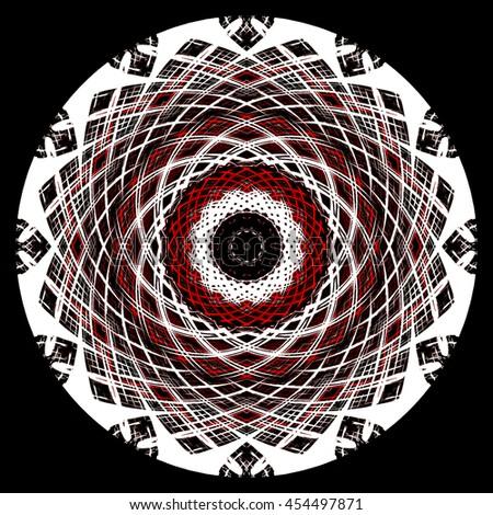 Red black white intricate detailed kaleidoscope pattern twist twirl spin spiral background backdrop  vivid mesmerizing illusion illustration  - stock photo