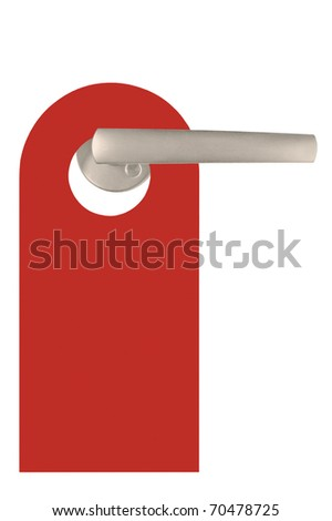 Red Blank Do Not Disturb Tag On Door Handle, Isolated - stock photo