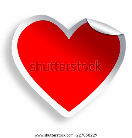 Red blank heart sticker  isolated on white - stock photo
