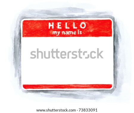 Red blank name tag sticker HELLO my name is with shadow on white background. Handmade watercolor technique - stock photo