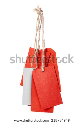 Red blank price tag isolated on white background  - stock photo